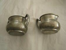 VINTAGE Pewter Creamer and Sugar Bowl Set Old Colonial Trade Mark
