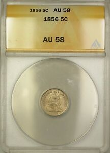 1856 Seated Liberty Silver Half Dime 5c Coin ANACS AU-58