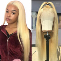 New Straight Indian Remy Human Hair Wig Bleach Blonde Lace Front Wigs Baby Hair