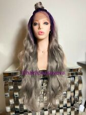 Synthetic Wig Ombré Purple Ash Gray Lace Front Wavy Layered Heat Ok 28 Inch Long