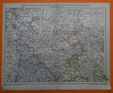 Rheinprovinz , Westfalen und Hessen-Nassau 2 Karten  historische Landkarte 1895
