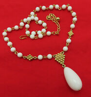 Vintage Necklace White Lucite Bead Pendant 20 inch Gold Choker Chain 991m