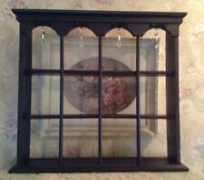 Vintage Wood  Tea Cup and Saucer Wall Curio Display Shelf  prisims~roses