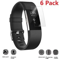 6 Pack Ultra Clear Tempered Glass Screen Protector For Fitbit Charge 2 Watch USA