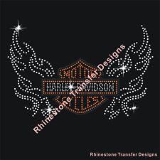 "Rhinestone Transfer ""Harley Davidson"" New Hotfix , Iron On, Bling, Motif"