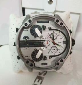 100% Original DlESEL MR DADDY 2.0 White Leather Silicone Strap Time Zone DZ7401