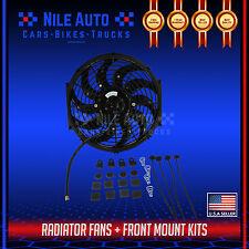 "BLACK 12"" UNIVERSAL SLIM PUSH PULL 12V 80W RADIATOR COOLING FAN + MOUNT KIT"