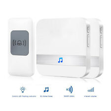 300M Waterproof LED Wireless Doorbell EU/US Plug 52 Songs Chime Door Bell SOS