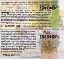 SOVRANITÀ MONETARIA - SIGNORAGGIO BANCARIO - RARA BANCONOTA DA € 2.500.000.000