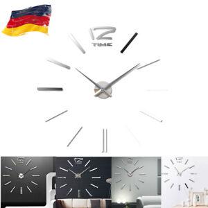 NEU Wanduhr Deko Spiegel XXL Wandtattoo 3D DIY Design Wand Uhr Wohnzimmer Büro
