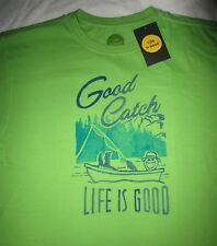 LIFE IS GOOD Fish Fishing Good Catch Boating Mens SS T Shirt NWT Size L Large
