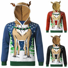 Ladies Mens Womens Xmas Jumper Hoodie Novelty Elf Reindeer Christmas Sweater Top