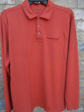 L L BEAN mens L tall polyester TANGERINE 3-button polo golf LS shirt NEW