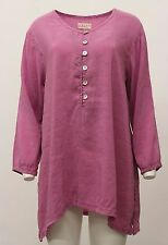 BODIL WOMEN'S LONG SLEEVE PULLOVER BUTTONED SHIRT BLOUSE PEONY PINK PURPLE LARGE
