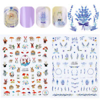 Lavender Cute Rabbit Squirrel Design 3D Nail Stickers Transfers  Decor