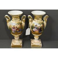 PAIR antique vieux paris porcelain hand paint Vases romantic scene 19thc