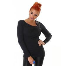 Maglione da donna nero pullover a maniche lunghe scollato maglia con strass sexy