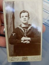 WW1 OR EARLIER  SEAMAN ERNEST LOOKS STRAIGHT DOWN THE LENS OF CAMERA CDV NAVY