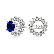 CZ Round Halo Earrings Jackets For Studs Sterling Silver Earrings not included