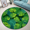 Tropical Jungle Palm Monstera Leaf Theme Round Mat Bedroom Living Room Area Rugs