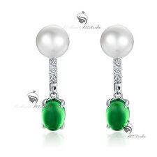 18k white gold gp green jade swarovski crystal stud pearl earrings 925 silver