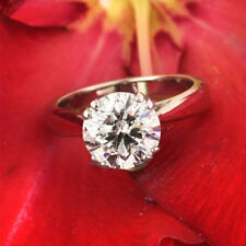 Ring 14K White Gold Rings Size 5 2.50 Ct Round Cut Solitaire Diamond Engagement