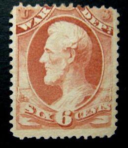 1873 US S# O86, 6c War Dept, hard paper Official Stamp Rose, Mint NG