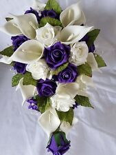 TEARDROP BRIDES WEDDING BOUQUET CALLA LILIES & ROSES PURPLE & IVORY WITH PEARLS