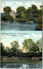 """Independence, Kansas Postcard """"McTaggart Mill, Before & After Destruction"""" 1910s"""