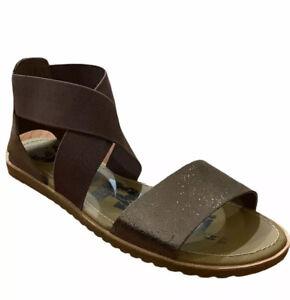 New Sorel Womens Sz 8 Brown Metallic Strap Band Ankle Sandals