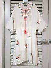 Off White Floral Embroidery Tie Neck Midi Dress 2XL w/ anthropologie earrings