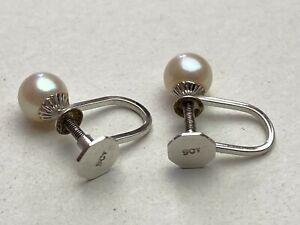 9ct .375 White Gold Pearl Single Stone Stud Earrings Hallmarked Ship Worldwide