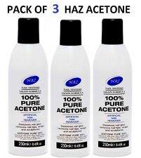 3 X HAZ 100% Pure Acetone Nail Polish Remover 250ml