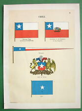 CHILE Chili Naval Flags Coat of Arms Jack - 1899 Color Litho Print