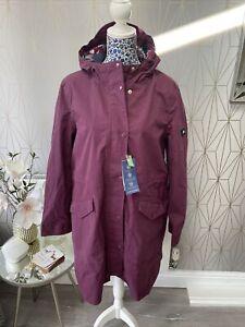 Joules Loxley Longline Waterproof Jacket Dark Purple Brand New Rrp £129 Size 16