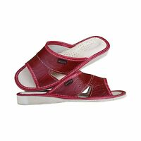 Women's Slippers Soft Natural Leather Slip On Size 3-8 Red Sandals Flats Slides