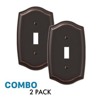 2-Pack Toggle Light Switch Wall Plate Stylish Stamped Steel, Oil Rubbed Bronze