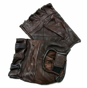 New Workout Brown Leather Finger less Gloves Exercise Fitness Lifting Gloves