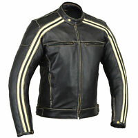 BUSA Bikers Gear Ivory Stripe Motorcycle Bonnie Leather Jacket CE Armoured