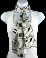 Piano Keyboard Womens Music Scarf White Scarves Keys Notes Musician Gift New