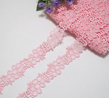 LOT 2 Yards Venise Lace Trim Pink For Sewing/Craft