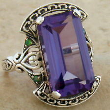 9 Ct Color Changing Lab Alexandrite Victorian Style 925 Silver Ring Size 9, #469