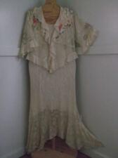 Womens 2pc Gold Lace Full Length Handkerchief Hemline Dress Suit Sz.PL By R & M