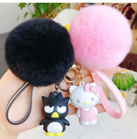 3D Hello Kitty Melody Cinnamoroll Key Chains Pom Pom Fur Ball Car Bag Keyring