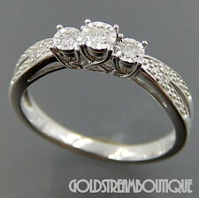 DELICATE STERLING SILVER 0.08 TCW DIAMOND ENGAGEMENT WEDDING RING SIZE 7 COA