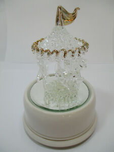 "NEW Vintage San Francisco Music Box Blown Glass Carousel 6"" x 4.5"""