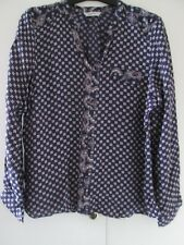 Ladies Dark Blue Paisley/Tile Print Blouse Shirt Top size 16 BHS ex con