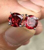 8 MM Natural Garnet Round Faceted Studs Earrings Minimalist 925 Sterling Silver