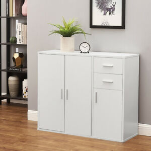 Modern White Buffet Cabinet Sideboard Cupboard Unit Storage With Drawers & Doors