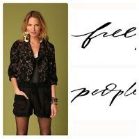 Free People Sz 12 Mystic Brocade Jacket Black Cropped Moto Zip 3/4 Puff Sleeve
